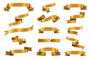 Wall Mural - Gold glossy ribbon vector banners set