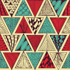 Abstract seamless pattern. Zentagl. Triangles. Doodle.