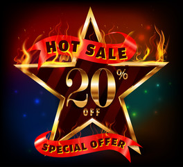 20% off, 20 sale discount hot sale with special offer and fire effect- vector EPS10