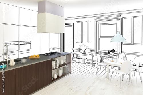 moderne k che im altbau planung zdj stockowych i. Black Bedroom Furniture Sets. Home Design Ideas