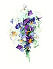 Bouquet violets. Flower backdrop. Watercolor hand drawn illustration
