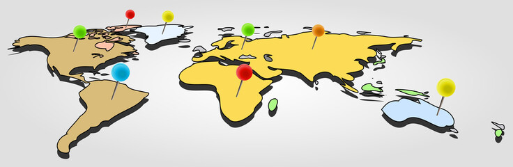 Vector simple and colored world map with office pins