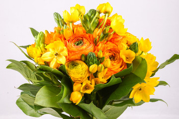 Bouquet yellow ranunkulyus with green leaves on bright background