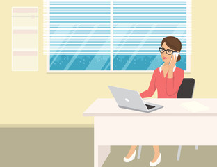 Business woman wearing rose shirt sitting in the office and talking by cellphone. Flat illustration of business people at work desk