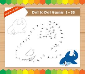 Cartoon Shark. Dot to dot educational game for kids