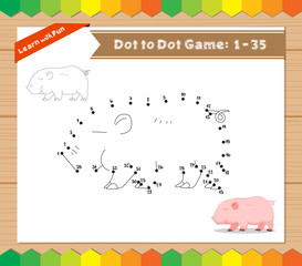 Cartoon Pig. Dot to dot educational game for kids