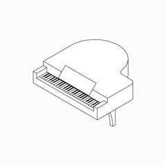 Piano icon, isometric 3d style