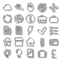 Handmade business line icon set