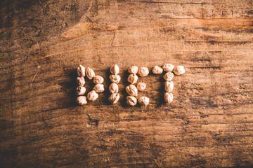 diet written on wood background