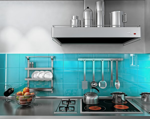 3d rendering of a modern kitchen