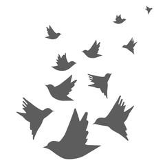 Flock of birds in flight. Vector illustration.