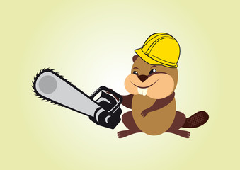 Beaver with chainsaw. Cartoon character beaver. Vector illustration of a beaver with chainsaw