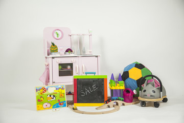 Isolated group of toys in a white background