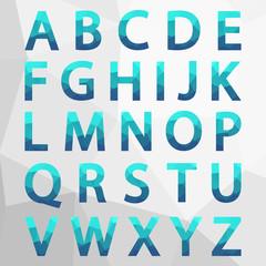 Blue Polygonal Alphabet Set.