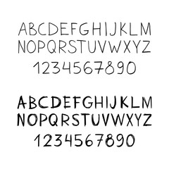 Set of two hand-drawn fonts. Vector.