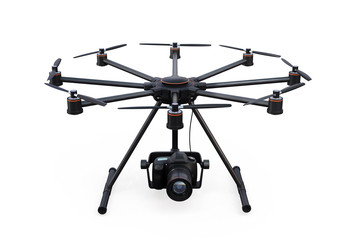 Front view of octocopter with DSLR camera isolated on white background. 3D rendering image with clipping path.