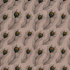 Seamless pattern with peacock feathers on kraft paper
