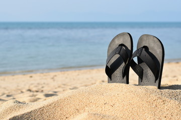Summer vacation concept--Flipflops on a sandy ocean beach