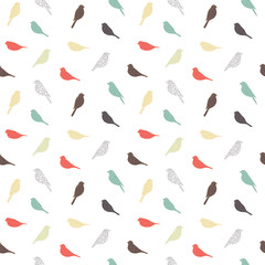 Seamless pattern with birds. Geometric style. Vector.