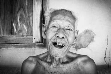 Portrait of elderly men happy and laughing ,black and white tone