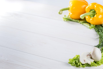 Beautiful Vegetables on the white painted boards