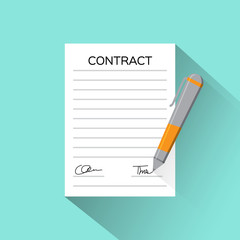 Vector agreement icon, flat design - signing contract on white paper