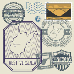 Stamp set with the name and map of West Virginia, United States