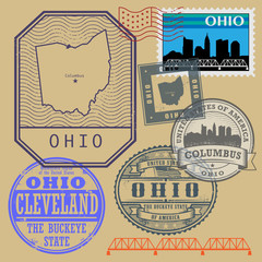 Stamp set with the name and map of Ohio, United States