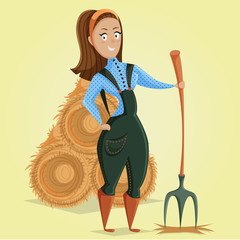 Cartoon farmer girl character. Vector illustration in retro style