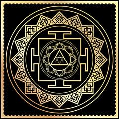 illustration golden Yantra Goddess Lakshmi symbol