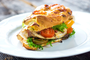 Delicious sandwich with grilled chicken and fresh crunchy vegetables