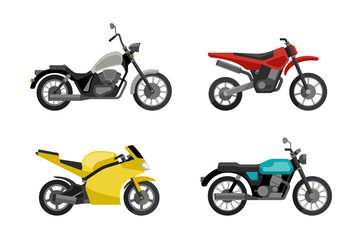 Motorcycles in flat style.