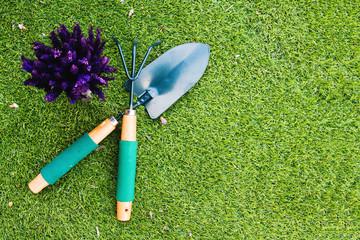 Shovel , rake and flower on grass.