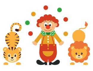 cartoon tiger and clown with balls and lion
