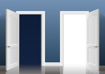 Two open doors. Two open doors into the light and dark blue in the interior of the room. Vector graphics