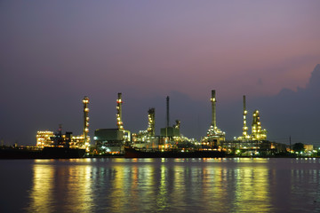Oil refinery factory at sunrise , bangkok Thailand.