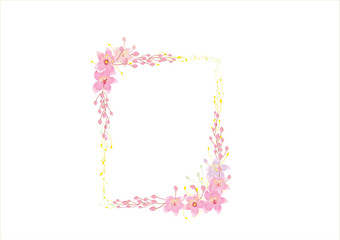 wreath or frame of pink  flowers on white background