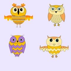 Set of cartoon owls. Yellow owls. Purple owls.