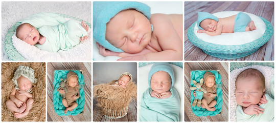 sleeping newborn babies collage