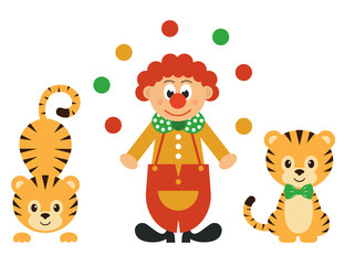 cartoon tiger and clown with balls set
