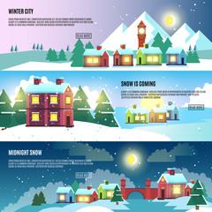 Urban, city, cityscape winter vector banners set