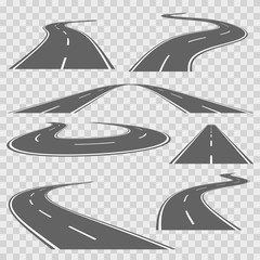 Winding curved road or highway with markings. Vector set