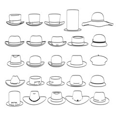 2d cartoon illustration of hats collection