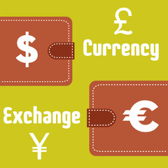 Abstract colorful illustration with two wallets, various money symbols and the text currency exchange written with white letters