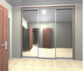 wardrobe with mirrored sliding doors  3D render