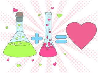 Colourful Love chemistry vector illustration. Chemical tubes in Hand drawn style. Test tube with love fluid. Cartoon Inspirational romantic background. Love formula poster in pop art style