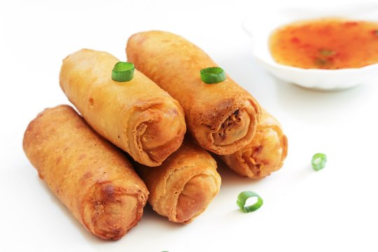Spring Rolls isolated on white