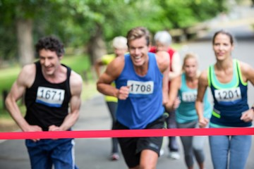 Marathon athletes close to the finish line