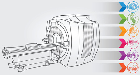 Illustration of MRI machine with simple design elements, clean line art for web and print design appealing for sport theme.