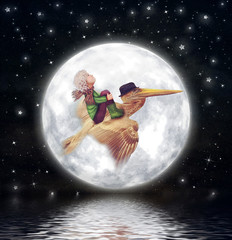 The little boy and brown pelican fly  against the full moon in night sky